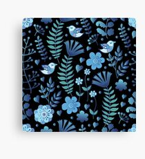 Vintage floral pattern on a black background Canvas Print