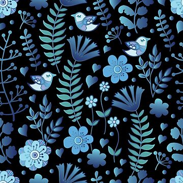 Vintage floral pattern on a black background by Anutina
