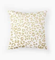Modern leopard pattern luxury faux gold glitter Throw Pillow