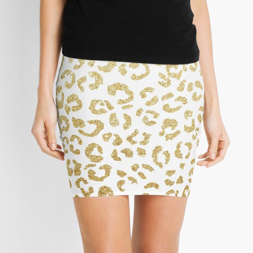 Modern leopard pattern luxury faux gold glitter Mini Skirt
