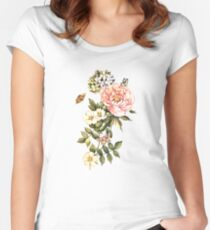 Watercolor vintage floral motifs Women's Fitted Scoop T-Shirt