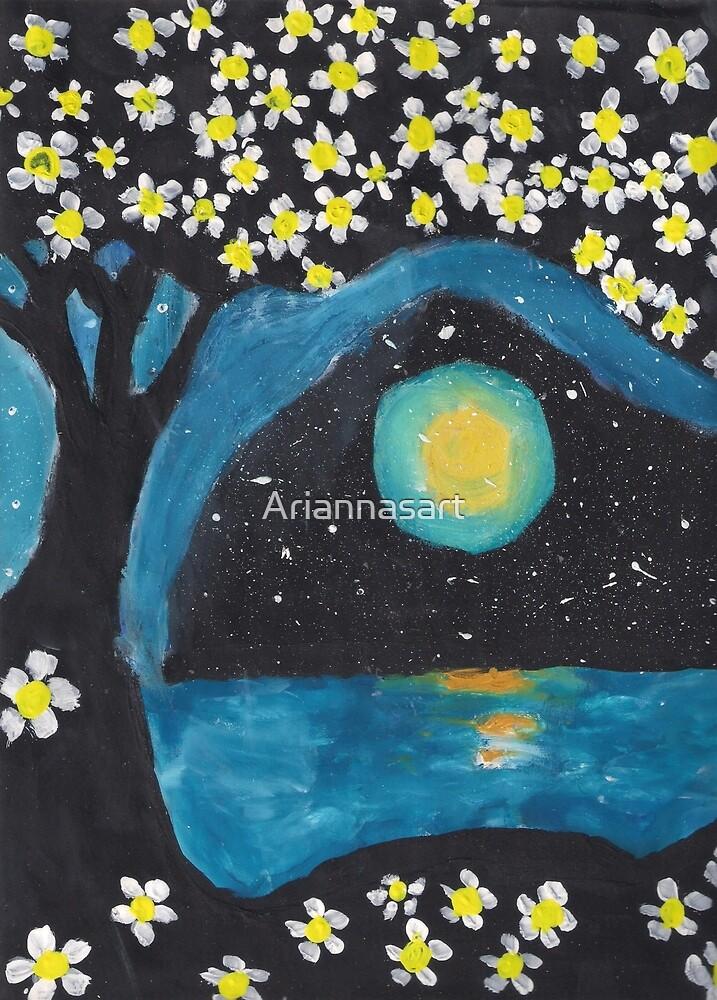 Tree, Ocean, and Moon by Ariannasart