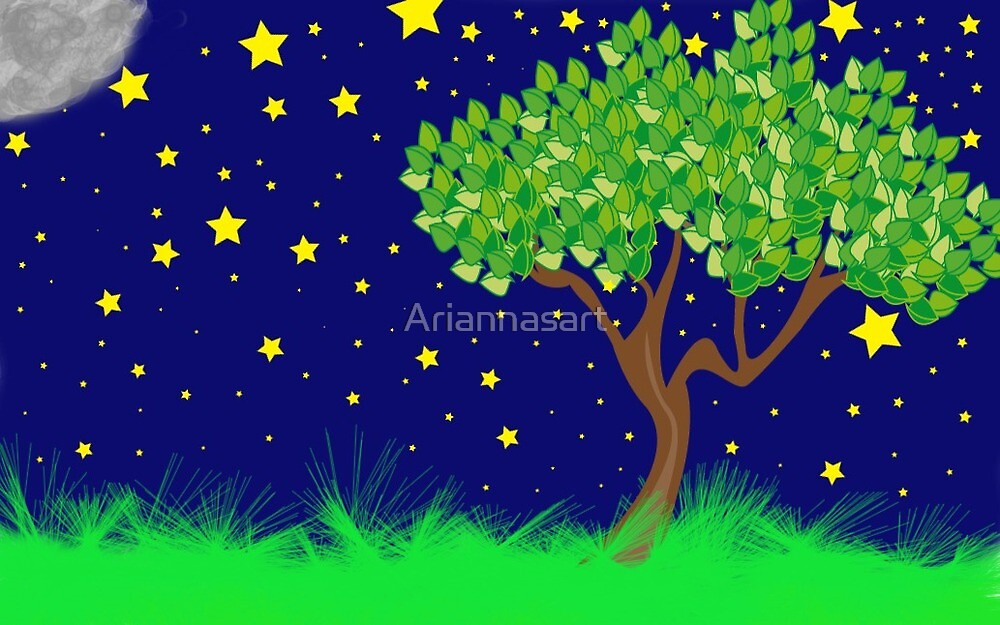 Tree  in the Night Sky by Ariannasart