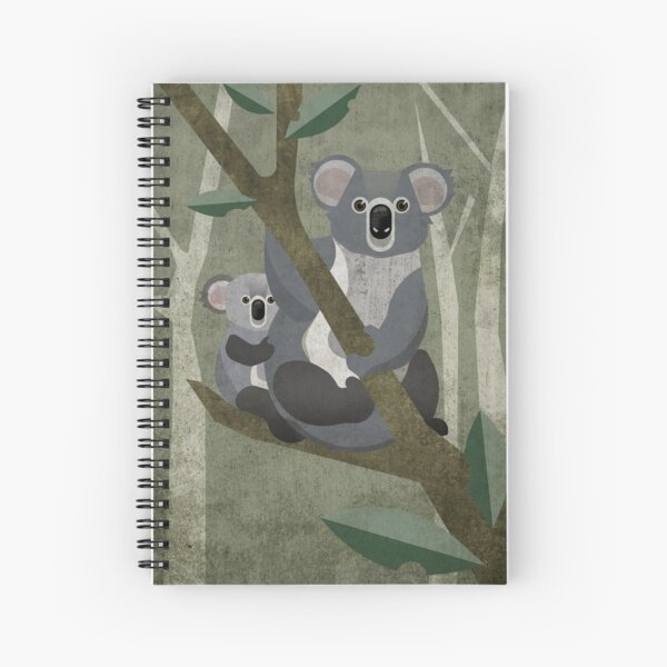 Koala mit Kind auf Eukalyptus Baum Spiralblock