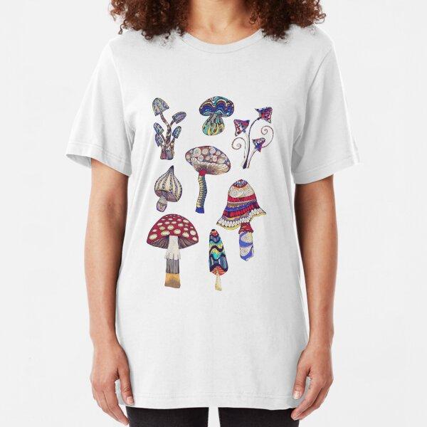 Zeichnung Pilze / koloriert /  Slim Fit T-Shirt
