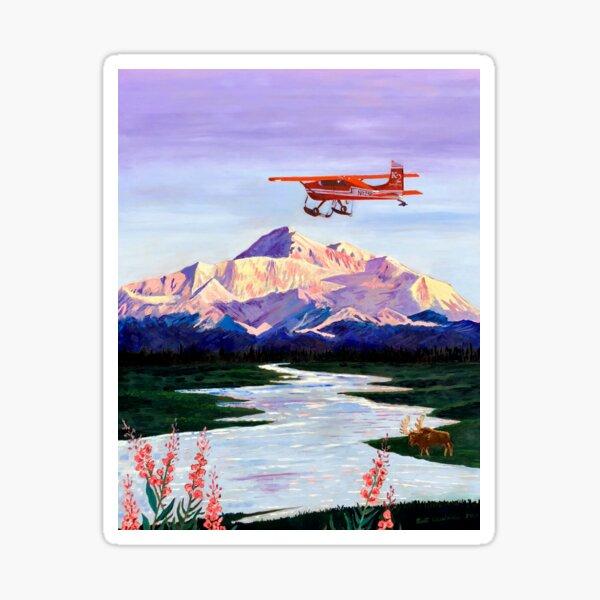 Denali Mountain Painting, K2 Aviation, Living Room Painting, Alaska Mountain, Gift for Pilot, Scott Clendaniel, Alaska Aviation, Mt McKinley Sticker