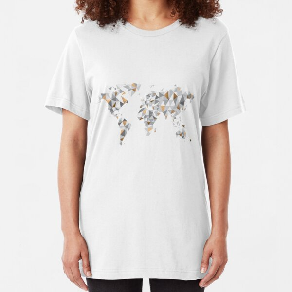 worldmap / Weltkarte abstrakte Dreiecke / bronze grau Slim Fit T-Shirt