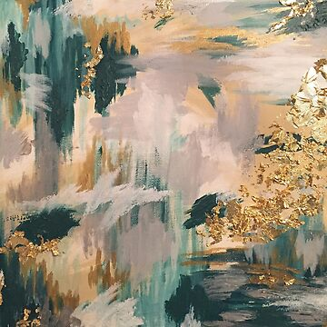 Teal and Gold Abstract Art by Brushedinbold