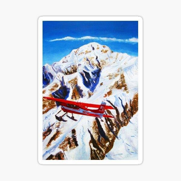 Denali Mountain Painting, K2 Aviation, De Havilland Beaver, Alaska Mountains, Gift for Pilot, Scott Clendaniel, Alaska Aviation, Mt McKinley Active Sticker