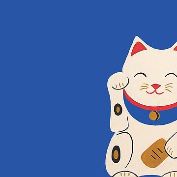 Blue Lucky Cat Maneki Neko by Brushedinbold