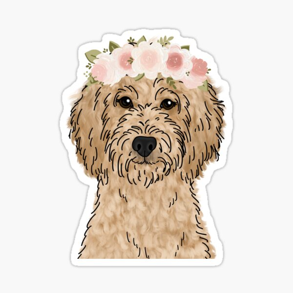 Floral Crown Goldendoodle Sticker