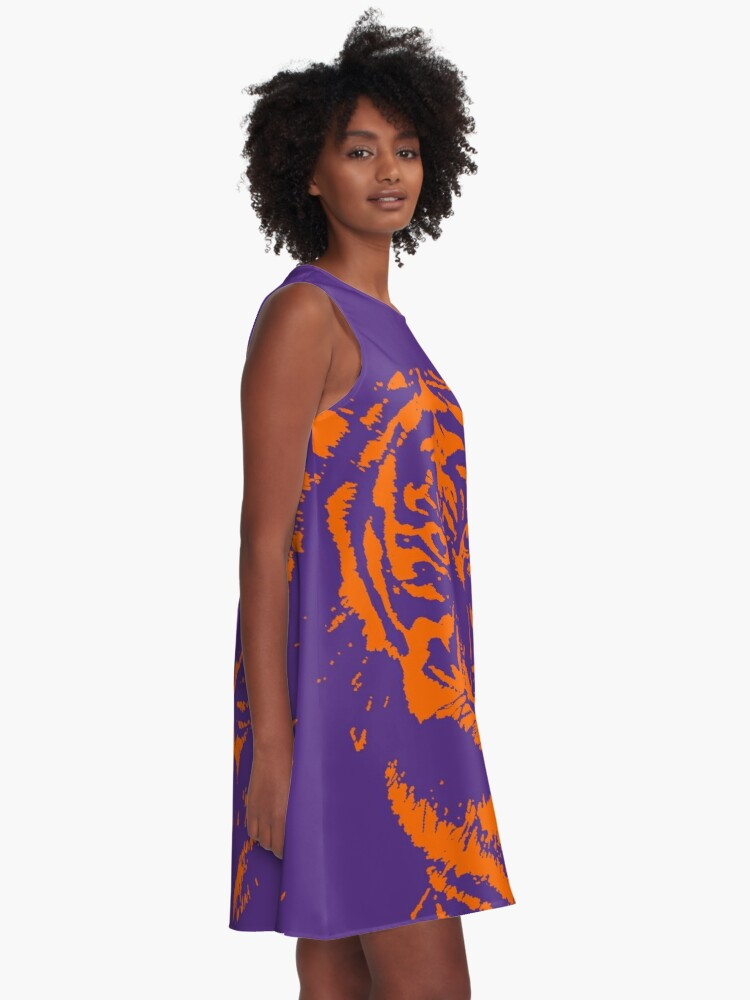 Alternate view of Royal Tiger Gameday Dress | Clemson Purple A-Line Dress