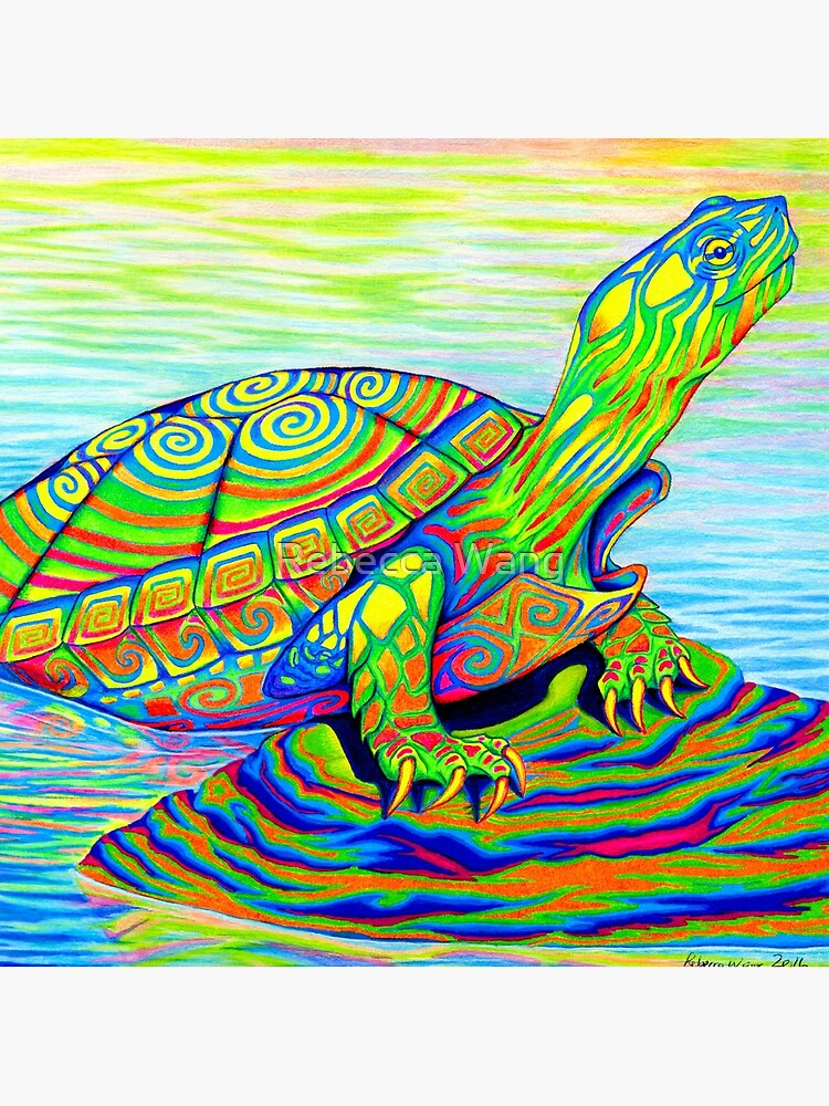Psychedelic Rainbow Colorful Neon Painted Water Turtle by lioncrusher
