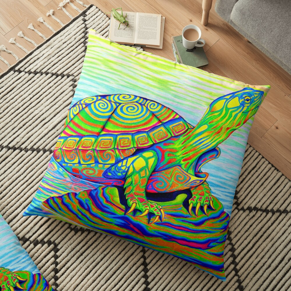 Psychedelic Rainbow Colorful Neon Painted Water Turtle Floor Pillow