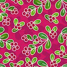 Cranberry Fruit Pattern on Fuchsia by tanyadraws