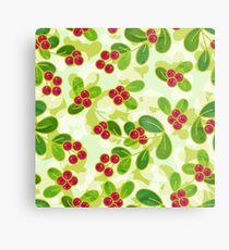 Cranberry Fruit Pattern on Green Metal Print