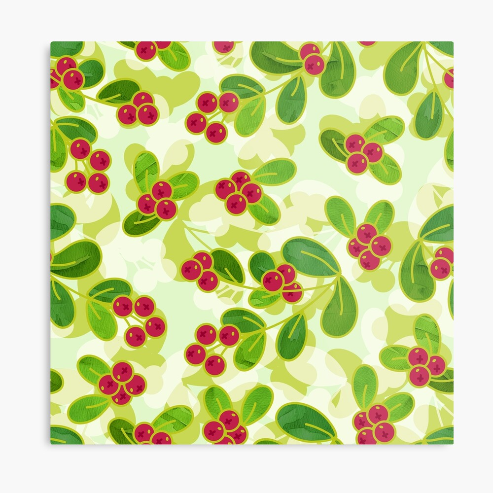 Cranberry Fruit Pattern on Green Metal Print