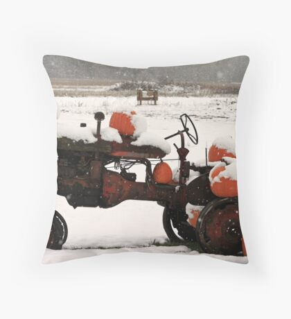 ....snowy pumpkins... Throw Pillow