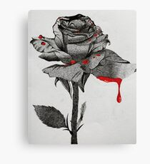 Bloody Black and White Rose Canvas Print
