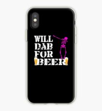 Funny Halloween Pink Skeleton Will Dab For Beer. Beer Lover Gift iPhone Case
