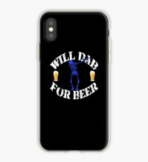 Funny Halloween Blue Skeleton Will For Beer. Beer Lover Gift iPhone Case