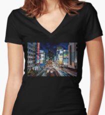Tokyo traffic Women's Fitted V-Neck T-Shirt