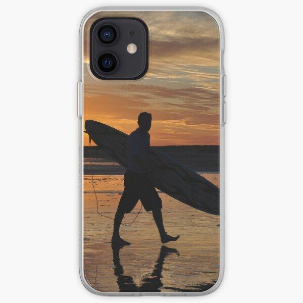Surfer Silhouette - Redhead Beach NSW Australia iPhone Soft Case
