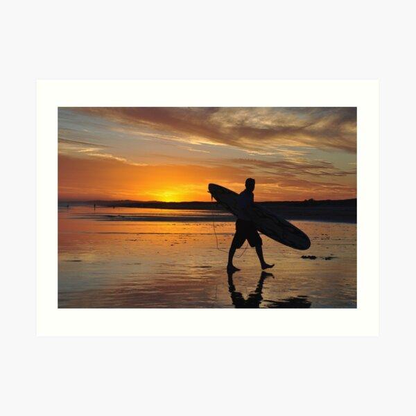 Surfer Silhouette - Redhead Beach NSW Australia Art Print