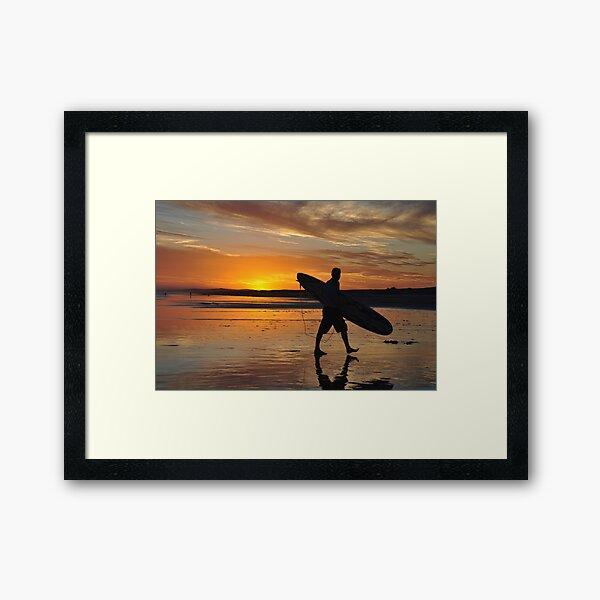 Surfer Silhouette - Redhead Beach NSW Australia Framed Art Print