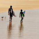 Surfing Buddies - Nobbys Beach Newcastle NSW Australia by Bev Woodman