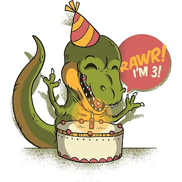 T Rex Birthday Party RAWR I'm 3 Dinosaur by ZippyThread