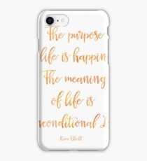 The purpose of life is happiness Rami Bleckt quote Mango iPhone Case/Skin