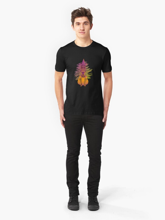Alternate view of Witch Cutie on a Pumpkin Slim Fit T-Shirt