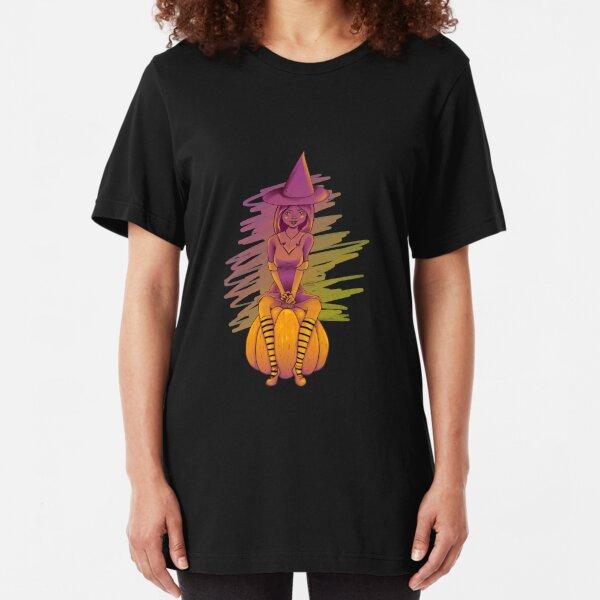 Witch Cutie on a Pumpkin Slim Fit T-Shirt