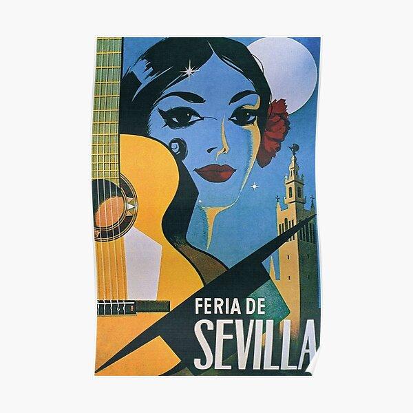 Feria de Sevilla, Seville Spain Vintage Travel Poster Poster