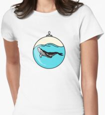 Blue whale illustration Women's Fitted T-Shirt