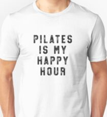 Pilates Is My Happy Hour T-Shirt for Women Funny Simple Unisex T-Shirt