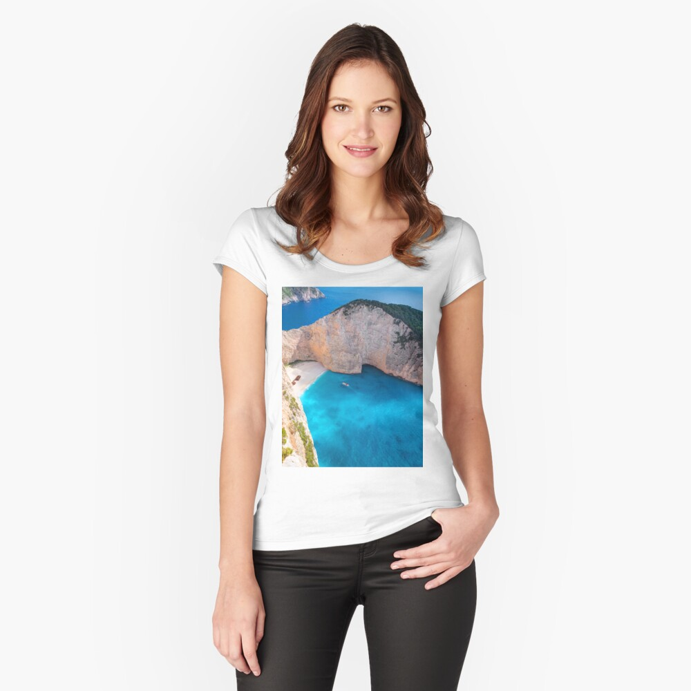 Beautiful Greek Island Fitted Scoop T-Shirt