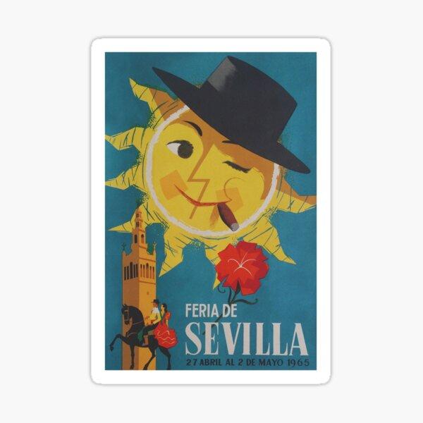 Seville Spain, Retro Whimsical Sun, Vintage Travel Poster Sticker