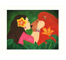 A girls love for animals Art Print
