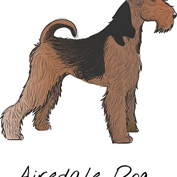 Airedale Dog Vintage Style Drawing by efomylod