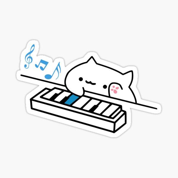 Bongo Cat toca el piano Pegatina