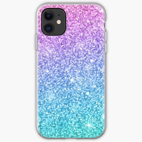 Purple Turquoise Glitter Ombre  iPhone Soft Case