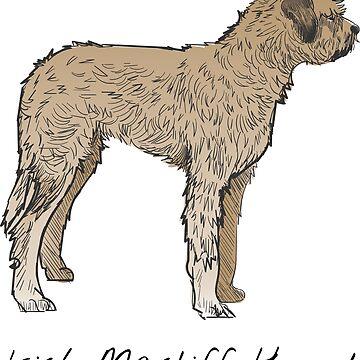 Irish Mastiff Hound Vintage Style Drawing by efomylod