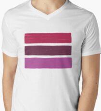 Stripes Lipstick No.02 Men's V-Neck T-Shirt