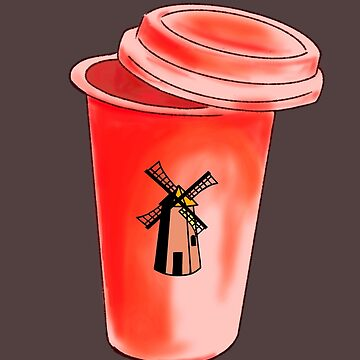 Red travel mug windmill Dutch bros by MimieTrouvetou