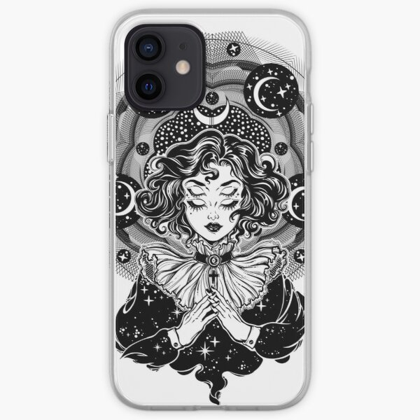 Girl portrait with four eyes, sacred space circle. iPhone Soft Case