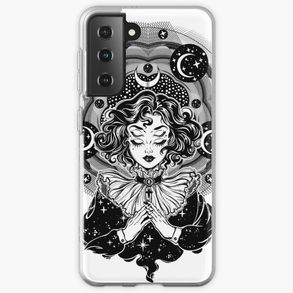 Girl portrait with four eyes, sacred space circle. Samsung Galaxy Soft Case
