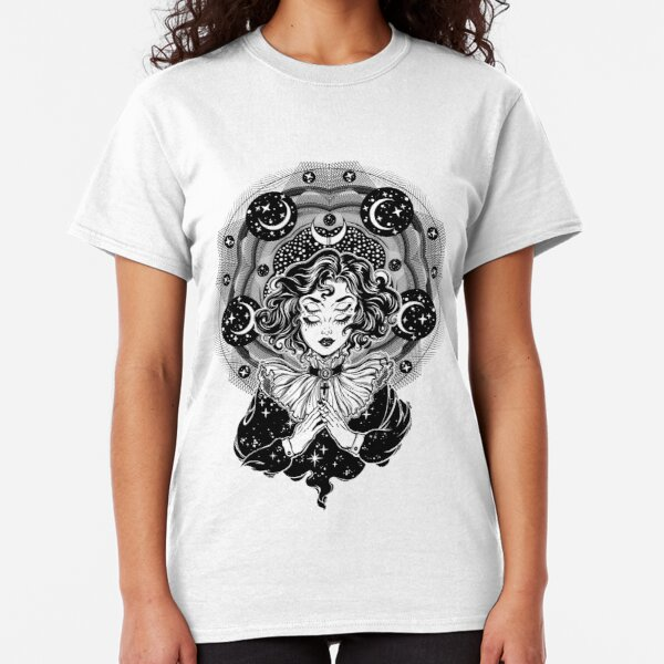 Girl portrait with four eyes, sacred space circle. Classic T-Shirt