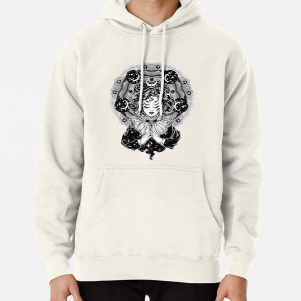 Girl portrait with four eyes, sacred space circle. Pullover Hoodie